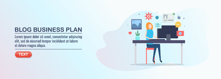 Business plan development, blogging business, commercial blogging, vector illustration, flat design.