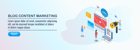 Isometric design concept of blog content marketing, digital media advertising concept. Çizim