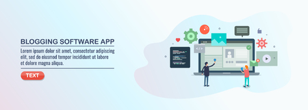 Blog management software, content application, website management system, vector illustration.
