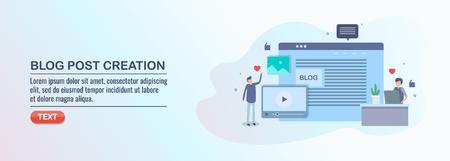 Blog post creation, content writer, marketing expert, creating blog content for audience, vector illustration, flat design. Ilustração