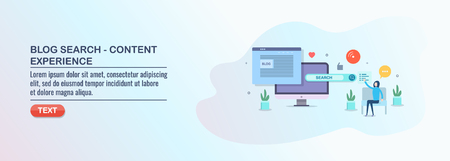 Content experience, blog marketing, search optimization, woman browsing web page, vector illustration.