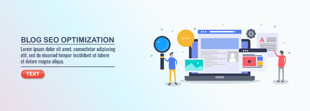 Seo optimization, blog content, digital marketing, social media, marketing people, flat design vector banner. Çizim