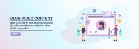 Video content, digital marketing, vlog,  video marketing, webinar, online video tutorial, flat design vector illustration.