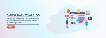 Digital marketing, blog content, development, publish, social media, flat design vector illustration.