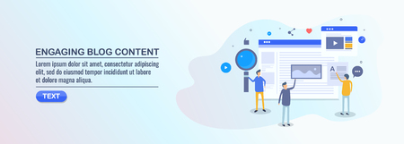 Engaging blog content, blog seo, social media, people engaged with blogging, flat design vector illustration. Çizim