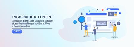 Engaging blog content, blog seo, social media, people engaged with blogging, flat design vector illustration. Illustration
