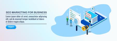 SEO, digitales Marketing für lokale Unternehmen, lokale Ladenoptimierung, isometrisches Designkonzept.