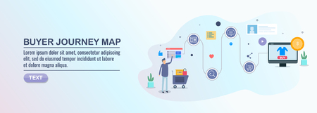 Buyers journey map, conversion optimization, customer journey experience, digital marketing strategy, flat design concept. Vettoriali