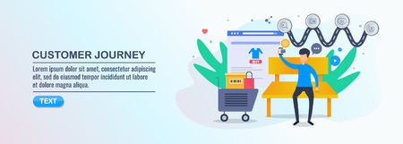 Customer journey, customer buying cycle, decision making, ecommerce shopping, digital marketing, isometric design concept.