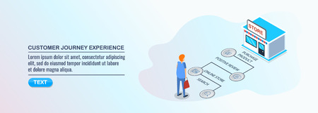 Customer journey experience, buyer conversion process, buying decision road map, isometric design concept. Çizim