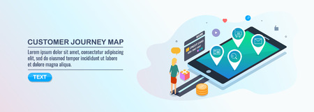 Customer buying process, mobile commerce conversion, customer buying experience, map, isometric design concept.