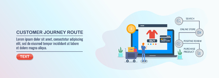 Customer journey route, customer buying steps, conversion optimization, flat design concept. Çizim