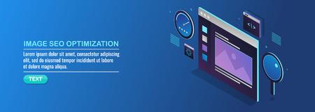 Image seo optimization, visual marketing, isometric design concept.