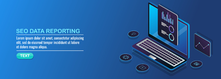 Seo report, digital marketing data and information analysis, business, technology, isometric design concept. Ilustração