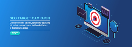 Seo campaign, target marketing, search engine optimization, digital marketing, isometric design concept.