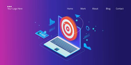 Isometric design concept of digital target marketing, website analytics, successful business goal, web template, vector banner.