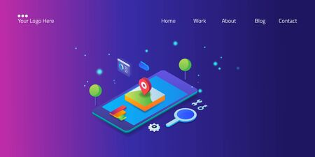 Local seo, mobile optimization, search marketing concept isometric web banner with icon and text. Çizim
