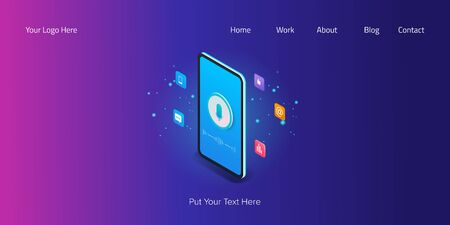 Voice search optimization on a mobile phone screen, isometric vector banner illustration with microphone icon, elements and text, digital marketing. Çizim