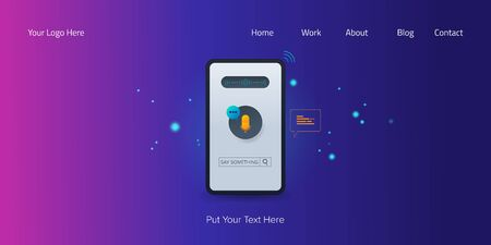 Mobile voice search assistant, artificial intelligence, search optimization concept, microphone icon on a smartphone screen, web banner. Stock Illustratie