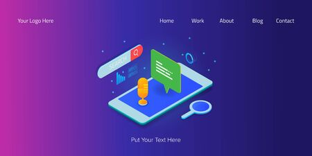 Voice search application, voice assistance on smartphone, 3d isometric style concept, web banner template