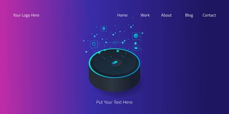 Digital smart speaker, voice assistance, modern customer service and experience, 3d style web banner template. Stock Illustratie