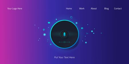 Digital smart speaking, voice assistant activated, digital home adviser, voice recognition, artificial intelligent technology, customer experience, web page banner concept. Stock Illustratie