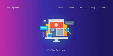 Content marketing, digital media, blogging, vlog and content publishing concept with text, web banner template Illustration