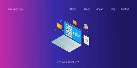 3d isometric design concept of customer relation management, online client support, business technology, web banner template, vector illustration.