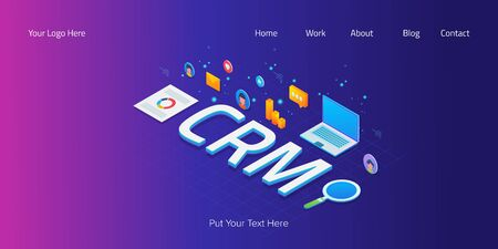 Isometric text, customer relationship management, crm system, 3d style web banner.