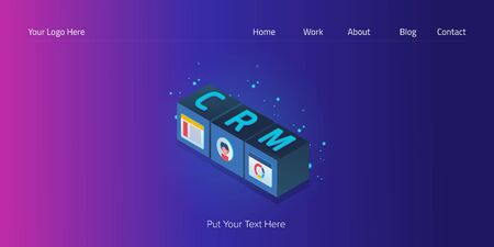 Crm text on isometric cube concept, crm system, digital technology, business management software, customer relation web banner vector template.