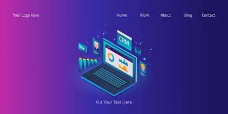 Isometric design concept of business analytic, customer data management, crm technology, internet, web banner vector template. Stock Illustratie