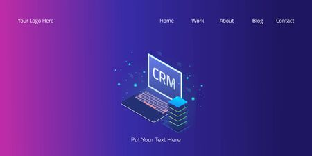 Isometric crm, business customer management, software technology, server system web banner vector template. Stock Illustratie