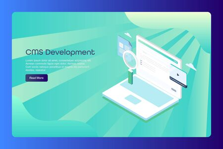 Isometric design concept of content management system, cms, marketing and communication concept, web banner template.