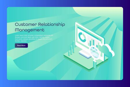 Isometric 3d style design concept of crm, customer profile data management, cloud computing, software service, web banner template. Stock Illustratie