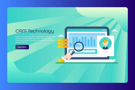 Customer relationship management, crm software, customer service, data analysis concept, web banner template with text. Çizim