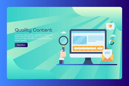 Quality content, presentation, blog post, blogging, content seo and digital marketing concept web banner template, with text.