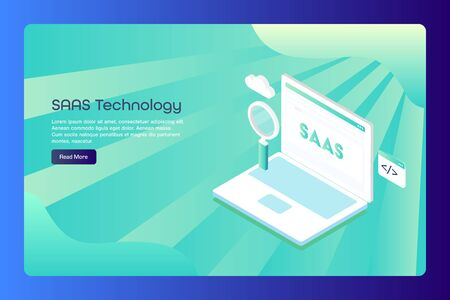 Saas, software as a service, cloud computing, coding, programming, search, conceptual web banner template.