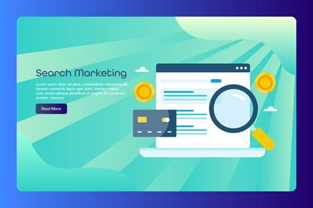 Search engine marketing, pay per click advertising, paid search listing concept, web banner template with text.