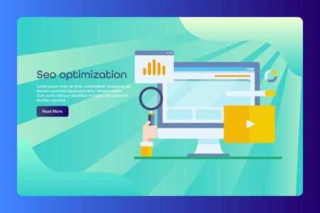 Website seo optimization, digital marketing, web data analytic conceptual web banner template with text. Çizim