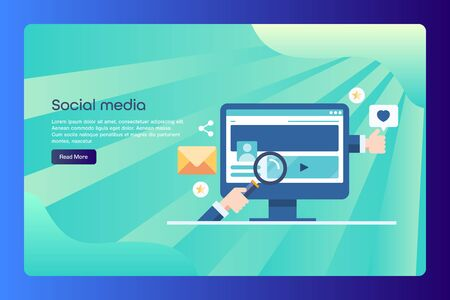 Social media, seo, digital marketing conceptual web banner with text