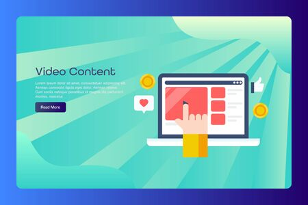 Video marketing, make money online, digital advertising, hand clicking on video concept, web page template. Illustration
