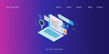 Search engine optimization, website traffic, seo data monitoring, information, statistic, digital marketing report concept, isometric web banner.