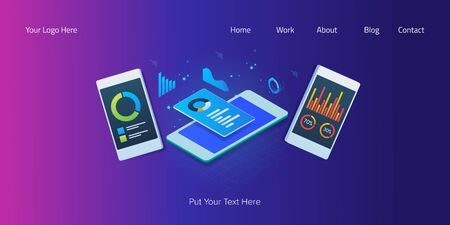 Digital marketing, business and financial report showing on mobile phone screen, mobile analytic, data, information concept, isometric web banner.