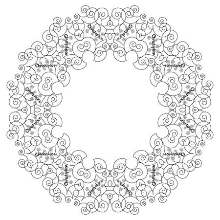 christopher: Christopher mandala. Vintage decorative elements. Oriental pattern, vector illustration. Pattern for coloring book.