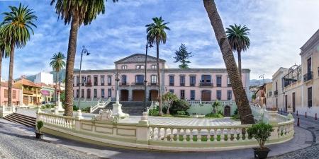 cityhall: Panorama of the Cityhall of La Orotava, Tenerife Stock Photo