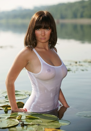 wet woman: The sexual girl in a wet vest