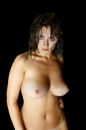 The beautiful girl in a shower