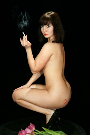 naked legs: The naked girl with a cigaret