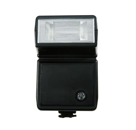 Electronic flashlight on a white background photo