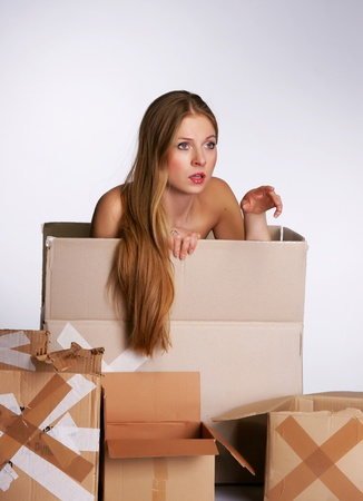 The beautiful blonde with cardboard boxes Stock Photo - 13369413